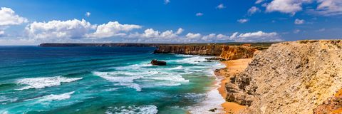 Panorama view of Praia do Tonel (Tonel beach) in Cape Sagres, Algarve, Portugal. Praia Do Tonel, beach located in Alentejo,. Portugal. Ocean waves on Praia Do royalty free stock photos