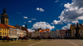 Panorama view of Premysla Otokar square in Ceske Budejovice, Chech Republic royalty free stock images