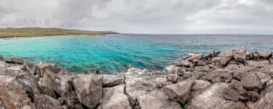 Panorama view of Puerto Chino Beach ,San Cristobal from the rock ,Galapagos,Ecuador Stock Photography