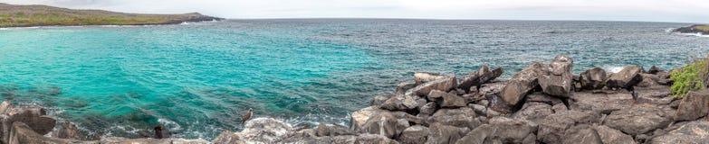 Panorama view of Puerto Chino Beach ,San Cristobal from the rock ,Galapagos,Ecuador. Panorama view of Puerto Chino Beach ,San Cristobal from the rock ,Galapagos Stock Photo