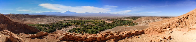 Panorama View from Pukará de Quitor ruins over a valley below, Atacama Desert, Northern Chile. Pukará de Quitor is a pre-Columbian archaeological site in Stock Photo
