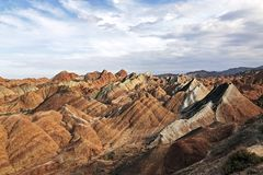 Panorama View of Rainbow Mountains Geological Park. Stripy Zhangye Danxia Landform. View of Rainbow Mountains Geological Park. Stripy Zhangye Danxia Landform stock photo