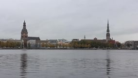 Panorama view of Riga city, capital of Latvia. The embankment of the Daugava River stock video