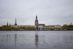 Panorama view of Riga city, capital of Latvia. The embankment of the Daugava River royalty free stock photography