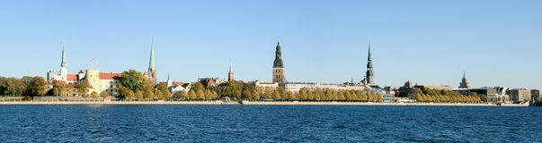 Panorama view of Riga city, capital of Latvia. The embankment of the Daugava River Royalty Free Stock Photo