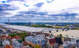 Panoramic view of Riga Old Town, Latvia stock photos
