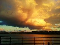 Panorama. View of the river and beautiful clouds Royalty Free Stock Images