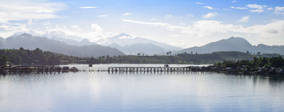 Panorama view of the river in Sanklaburi, Thailand Stock Image