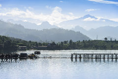 Panorama view of the river in Sanklaburi, Thailand Royalty Free Stock Image