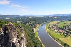 Panorama view from rocks Bastei to river Elbe and Rathen, Saxon Switzerland Stock Photos