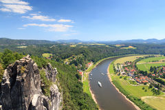 Panorama view from rocks Bastei to river Elbe and Rathen, Saxon Switzerland Stock Image