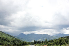 Panorama view of romanian mountains. Transfagarasan Royalty Free Stock Photos