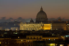 Panorama view of Rome at sunset with St Peter Cathedral Royalty Free Stock Photography