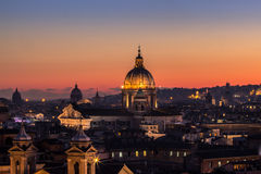 Panorama view of Rome at sunset Royalty Free Stock Images