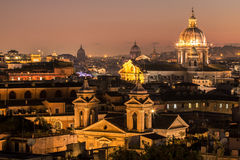 Panorama view of Rome at sunset Royalty Free Stock Photography