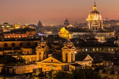 Panorama view of Rome at sunset Stock Image