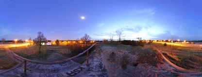 Panorama 360 - A view from the roof of the bunker on Ugory Street in Torun. Poland 2012 stock photography