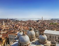 Panorama view of the roofs of Venice from the top of the St Mark`s bell tower San Marco Campanile of St. Mark`s Basilica in stock photos