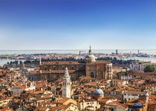 Panorama view of the roofs of Venice from the top of the St Mark`s bell tower San Marco Campanile of St. Mark`s Basilica in Veni stock image