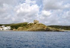 Panorama view of Sa Mesquida Beach, Menorca Spain Stock Images