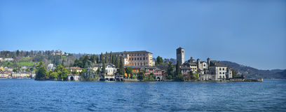 Panorama view of San Giulio island on Lake Orta in Italy Royalty Free Stock Photography