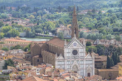 Panorama view on the Santa Croce church and old town in Florence. Panoramic view on the Santa Croce church and old town in Florence, Italy Stock Images