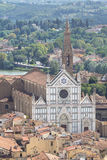 Panorama view on the Santa Croce church and old town in Florence. Panoramic view on the Santa Croce church and old town in Florence, Italy Stock Photography