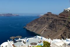 Panorama view of Santorini caldera Royalty Free Stock Photo