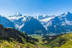 Panorama view of Schreckhorn, Fiescherwand, Eiger Royalty Free Stock Image
