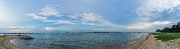 Panorama View of the sea from East Coast Park, Singapore Royalty Free Stock Photography