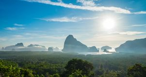 Panorama view of sea and mountain in morning golden hour time,Na Royalty Free Stock Image
