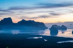 Panorama view of sea and mountain in sun rise morning golden hou. R time,Nature scene,Khao Samed Nang Chee Viewpoint,Phang Nga,Thailand Stock Photos