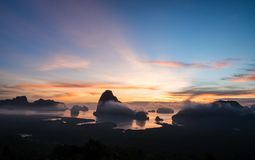 Panorama view of sea and mountain in sun rise morning golden hou. R time,Nature scene,Khao Samed Nang Chee Viewpoint,Phang Nga,Thailand Royalty Free Stock Images