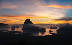 Panorama view of sea and mountain in sun rise morning golden hou. R time,Nature scene,Khao Samed Nang Chee Viewpoint,Phang Nga,Thailand Royalty Free Stock Photography