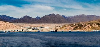 Panorama view from the sea to the mountains of the Ras Mohammed Royalty Free Stock Images