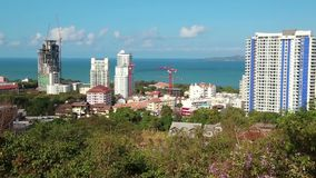 Panorama view of seascape at Pattaya bay, Thailand. Panorama view of seascape at Pattaya bay in Thailand stock video footage