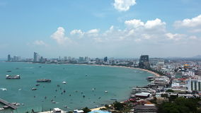 Panorama view of seascape at Pattaya bay, Thailand stock footage