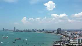Panorama view of seascape at Pattaya bay, Thailand stock video footage