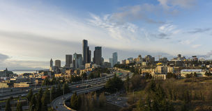 Panorama View on Seattle Skyline Royalty Free Stock Image