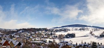 Panorama view Seiffen in Winter . Saxony Germany ore mountains Stock Photos