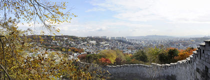 Panorama view of the Seonggwak fortress wall Royalty Free Stock Images