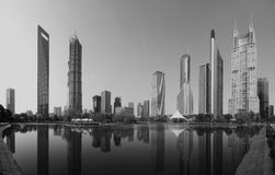 Panorama view of Shanghai business area Stock Images