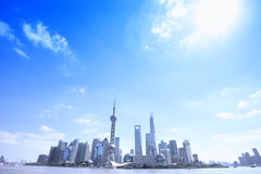 Panorama view of Shanghai business area Stock Image