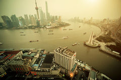 Panorama view of Shanghai city in fog at sunset time. Stock Photo