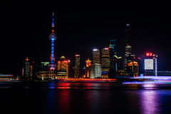 Panorama view of Shanghai city scape at night time. Aerial Stock Image