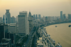 Panorama view of Shanghai city scape in sunset time. Panorama view of Shanghai city scape. Sunset sunrise Royalty Free Stock Image