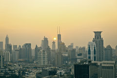 Panorama view of Shanghai city scape in sunset time. Panorama view of Shanghai city scape. Sunset sunrise Stock Image