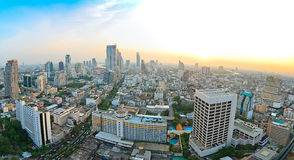 Panorama View at Silom Road. See whole Business city, Silom Road to Chaopraya River. with Panorama View royalty free stock image