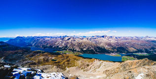 Panorama view Sils lake and swiss alps Royalty Free Stock Image