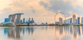 Panorama view of Singapore skyline in the morning Royalty Free Stock Photography